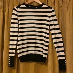 Striped Zara Sweater with pearl cuffs